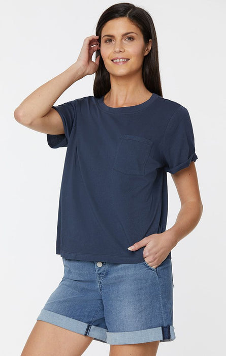 NYDJ Ladies' Cuffed Short Sleeve Crewneck Pocket Tee