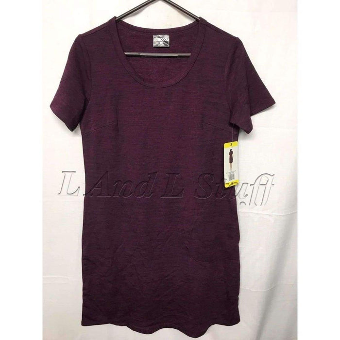 32 Degrees Cool Womens Relaxed Fit Short Sleeve Pullover Dress Reg / Xxl / Burgundy Space Dye Dresses