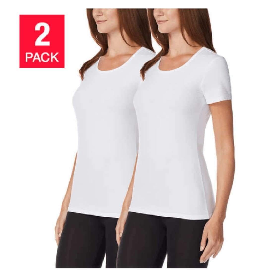 32 Degrees Cool Womens Short Sleeve Scoop Neck Tee 2 Pack (White) S Tops & Blouses