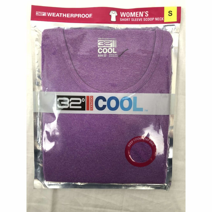 32 Degrees Weatherproof Cool Womens Short Sleeve Scoop Neck S / H.dp Lavender Athletic Apparel
