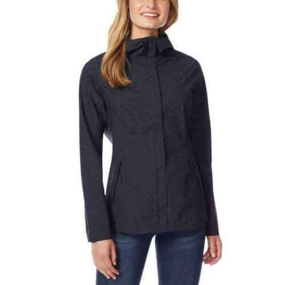 32 Degrees Womens Packable Rain Jacket M / Black Outerwear