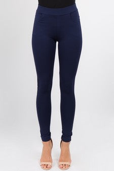 Yelete Ladies' Four Pocket Ponte Pants Navy Blue
