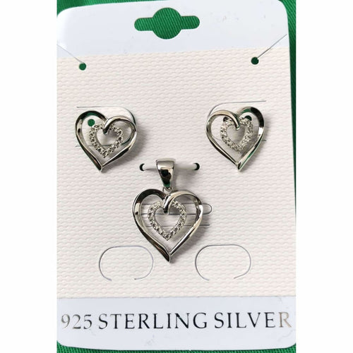 925 Sterling Silver Heart Earring And Pendant Jewelry