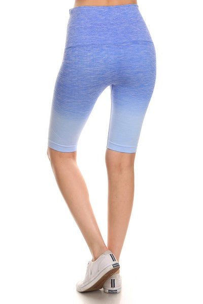 Yelete Dip Dye Ombre Athletic Biker Shorts w/High Waist Band