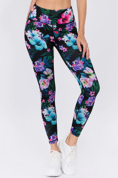 Yelete Women's Active High Rise Tropical Floral Printed Leggings