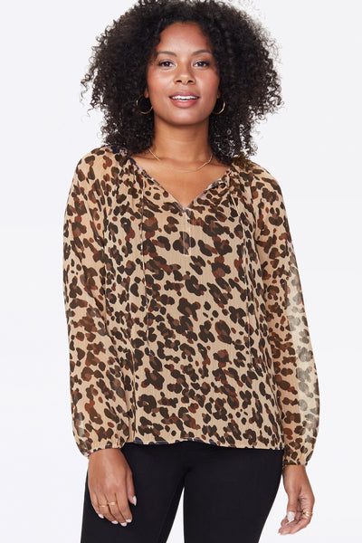 Peasant Blouse Style # MBCX3900 Color: Wildcat Animal Print