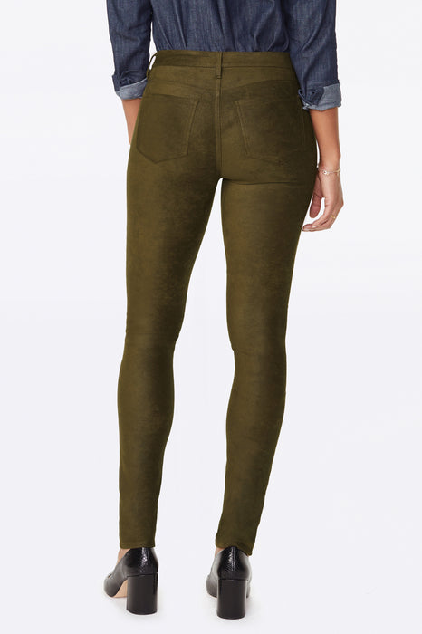 NYDJ Alina Skinny Pants In Faux Suede Color: Olive Brown