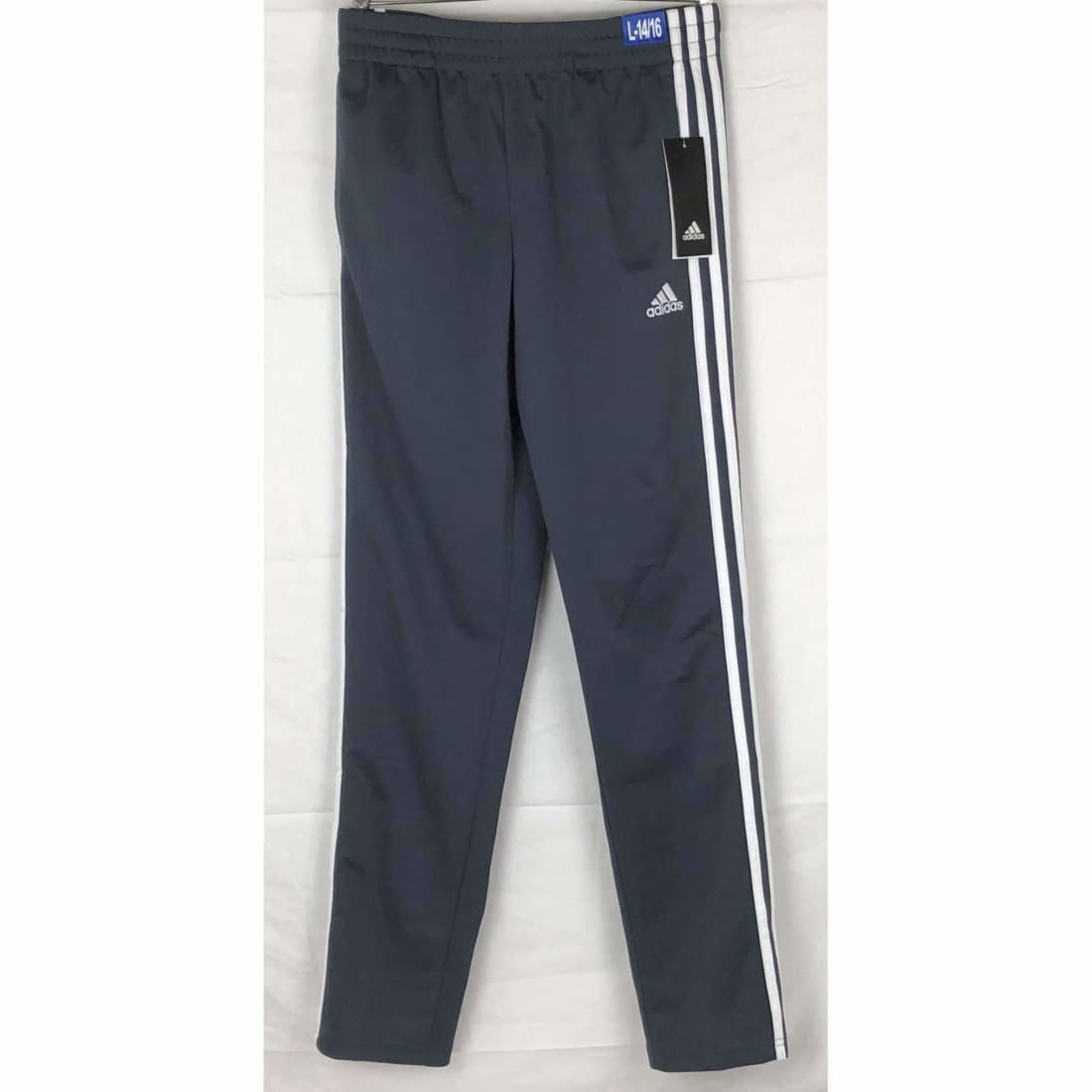 Adidas Boys Tapered Leg 3 Stripe Athletic Pants L / Dk Grey Athletic Apparel