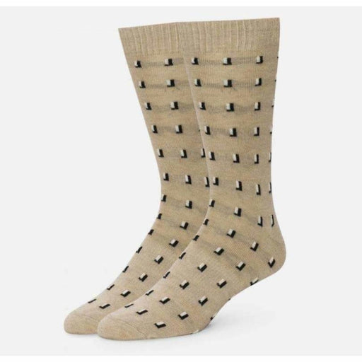 Alchester & Sons Mens Troy Cashmere Check Crew Sock Made In Usa Large / Khaki Socks