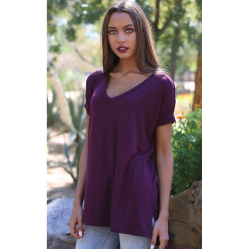 Angie Ladies Oversized V-Neck Knit Tee S / Maroon Tops & Blouses