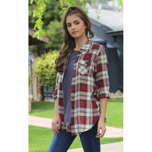 Angie Long Sleeve Plaid Button Up Top Tops & Blouses