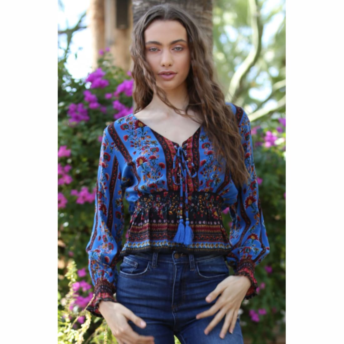 Angie Womens Lace Up Printed Long Sleeve Top Tops & Blouses