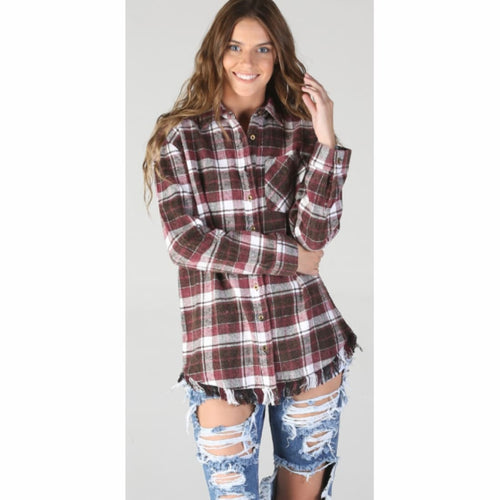 Angie Womens Plaid Flannel With Fringed Hem Tops & Blouses