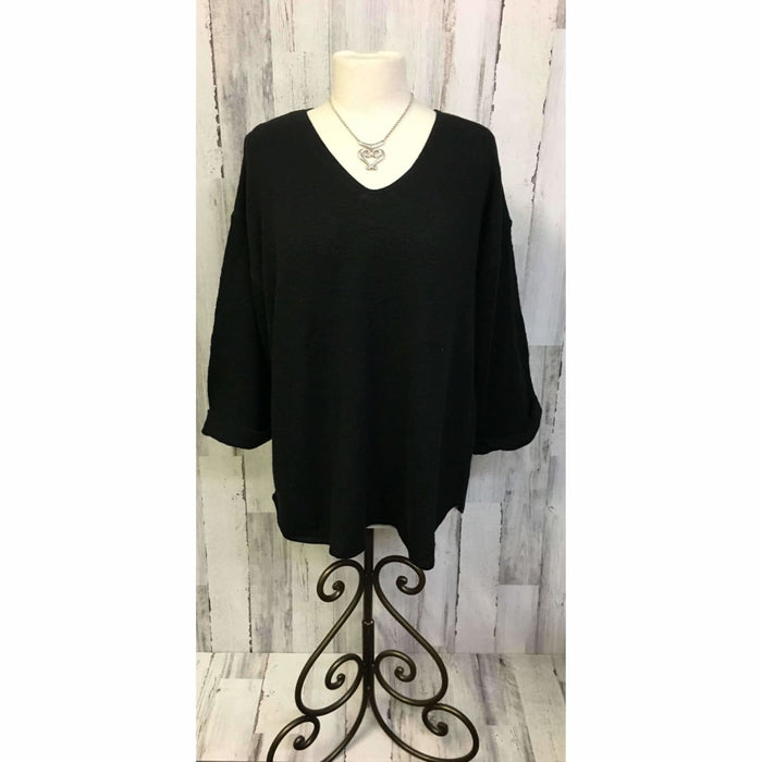 Avalin Womens V-Neck Oversized Tunic Slub Cotton Sweater #9079 Made In U.s.a. Black Sweaters