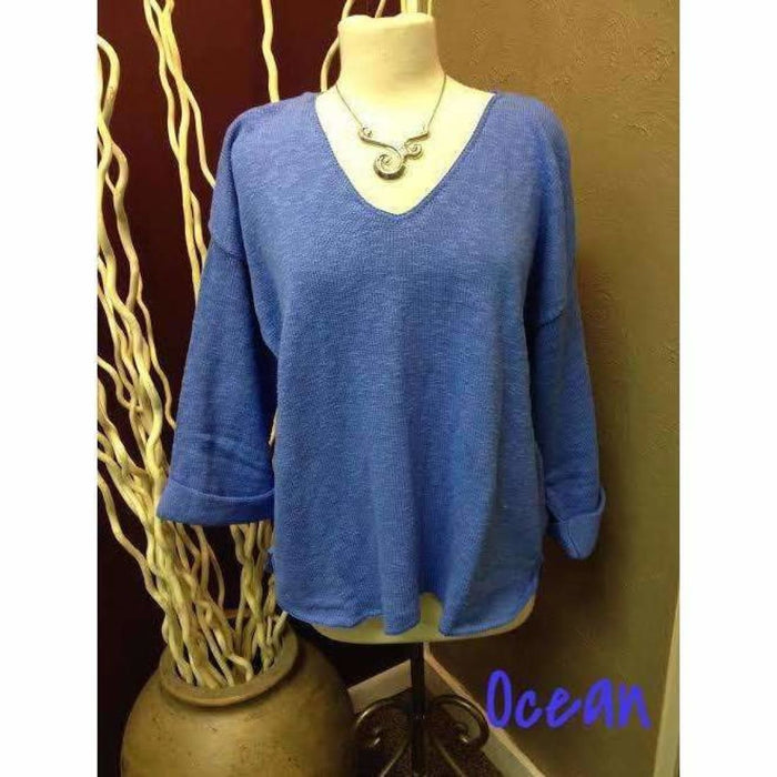 Avalin Womens V-Neck Oversized Tunic Slub Cotton Sweater #9079 Made In U.s.a. Ocean Sweaters