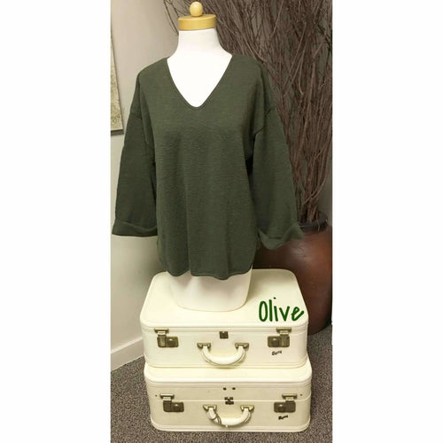 Avalin Womens V-Neck Oversized Tunic Slub Cotton Sweater #9079 Made In U.s.a. Olive Sweaters
