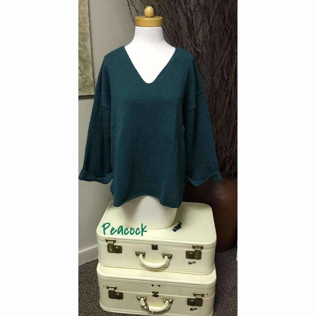 Avalin Womens V-Neck Oversized Tunic Slub Cotton Sweater #9079 Made In U.s.a. Peacock(Dark Green) Sweaters