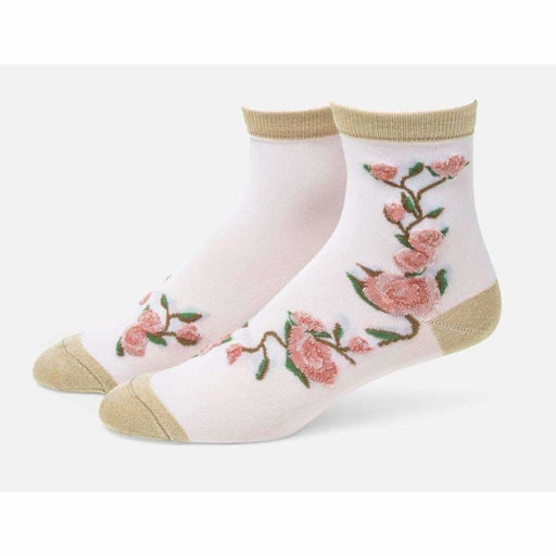 B.ella Blossom Womens Sparkle Floral Ankle Sock Made In Usa One Size / Gold Socks