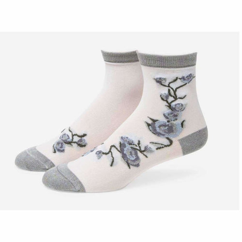 B.ella Blossom Womens Sparkle Floral Ankle Sock Made In Usa One Size / Silver Socks