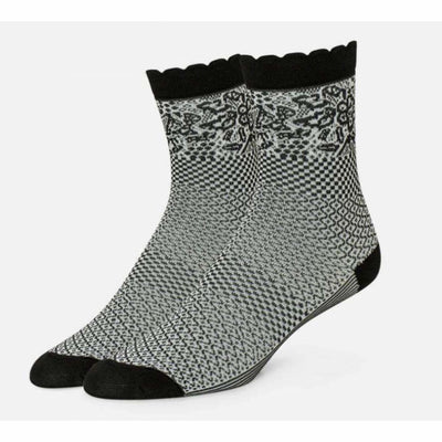 B.ella Emmeline Womens Pattern Ankle Sock Made In Usa One Size / Black Socks