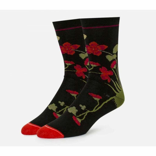 B.ella Womens Azalea Sparkle Floral Cotton Crew Sock Made In Usa Medium / Black Socks