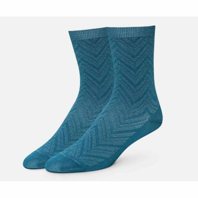 B.ella Womens Dominique Chevron Texture Ankle Sock Made In Usa Medium / Aqua Socks