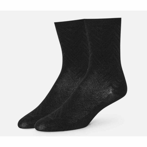B.ella Womens Dominique Chevron Texture Ankle Sock Made In Usa Medium / Black Socks