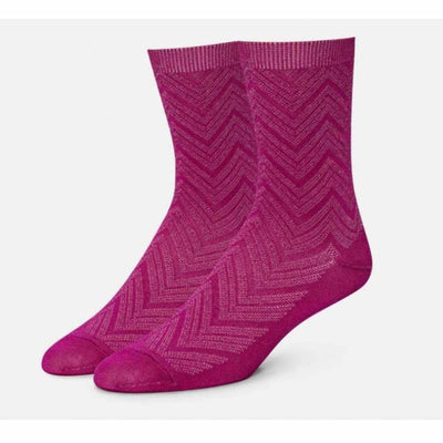 B.ella Womens Dominique Chevron Texture Ankle Sock Made In Usa Medium / Rose Pink Socks