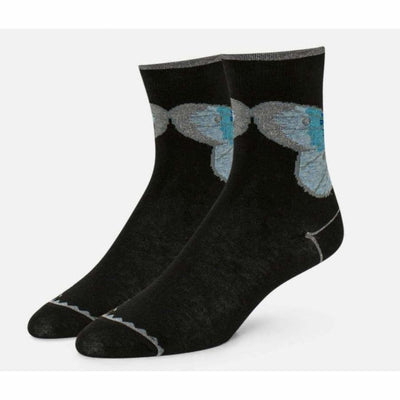 B.ella Womens Odile Sparkle Butterfly Print Ankle Sock Made In Usa Medium / Black Socks