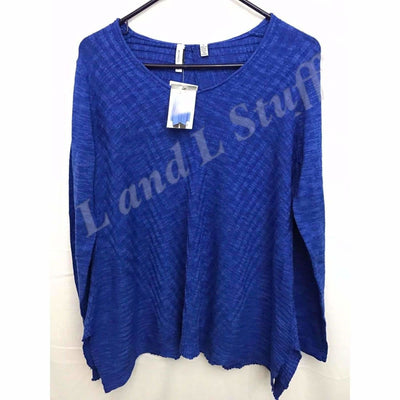 Beatrix Ost V-Neck Thin Knit Womens Pullover Sweater S / Lapis Sweaters