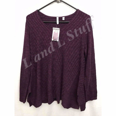 Beatrix Ost V-Neck Thin Knit Womens Pullover Sweater S / Purple Robe Sweaters