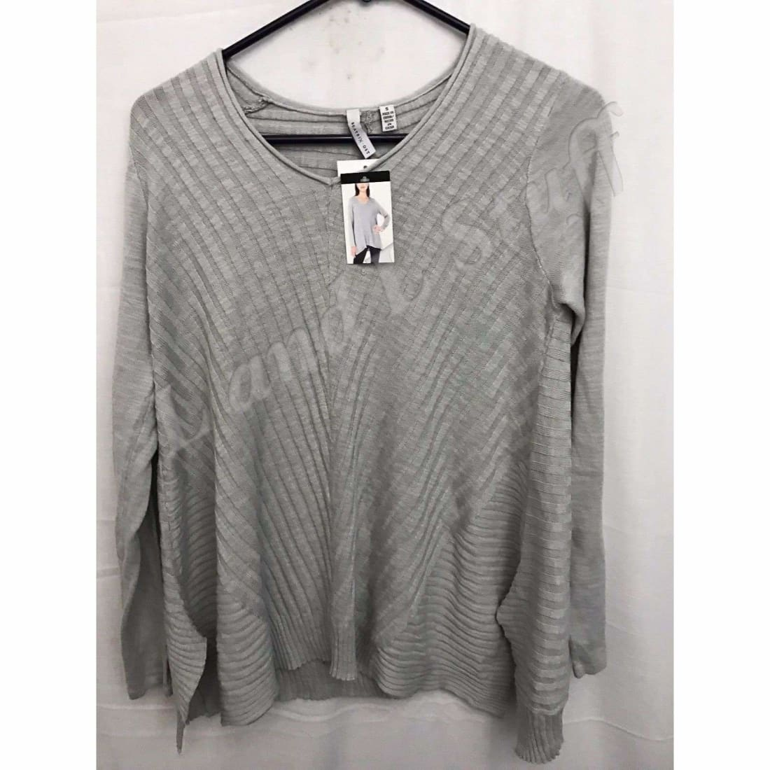 Beatrix Ost V-Neck Thin Knit Womens Pullover Sweater S / Silver Pearl Sweaters