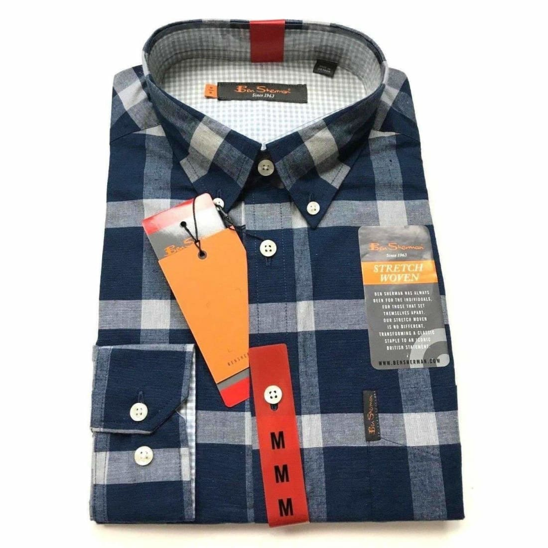 Ben Sherman Mens Long Sleeve Stretch Woven Plaid Shirt L / Blue Casual Shirts
