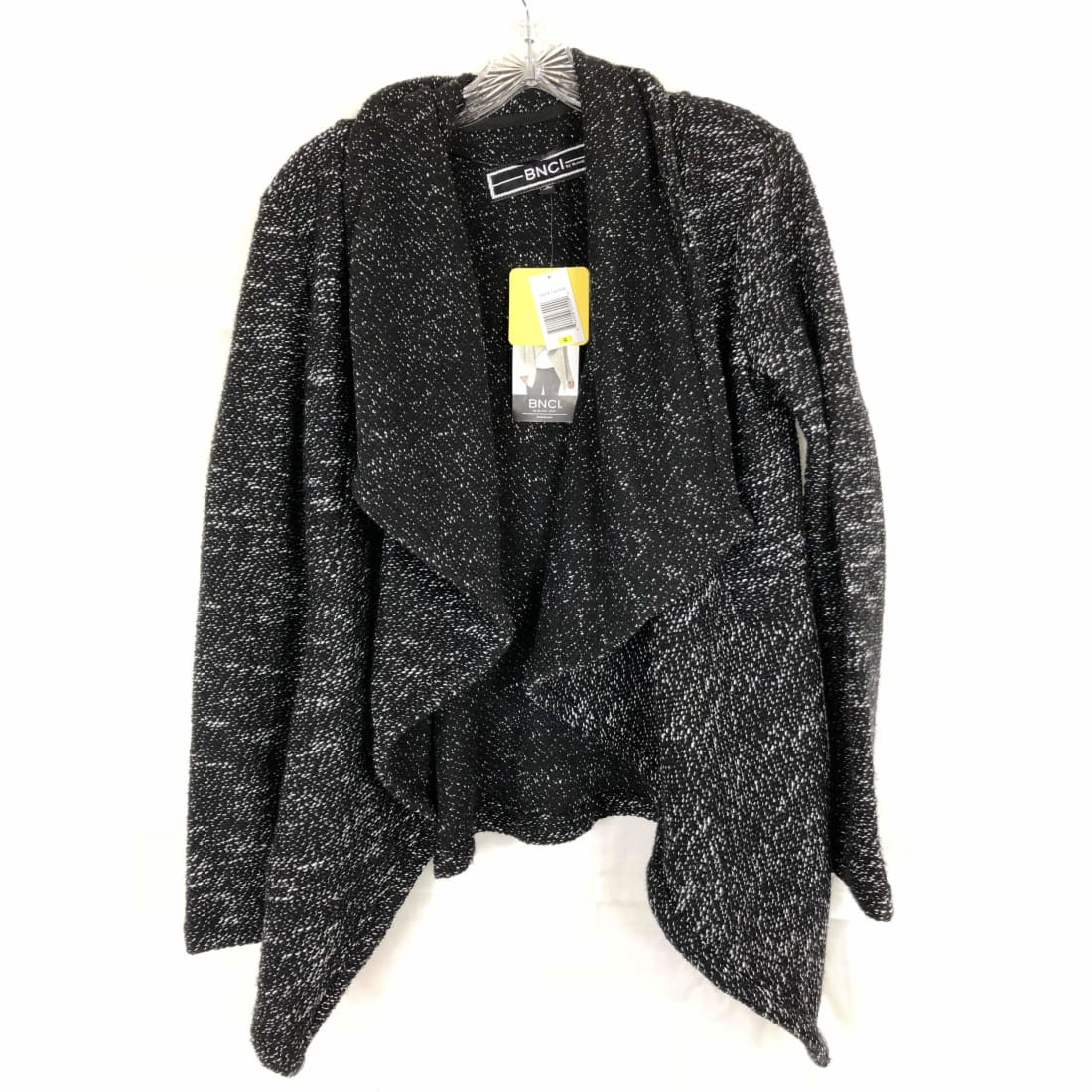 Bnci By Blanc Noir Womens Tweed Drape Front Shawl Collar Cardigan Sweater S / Black Sweaters