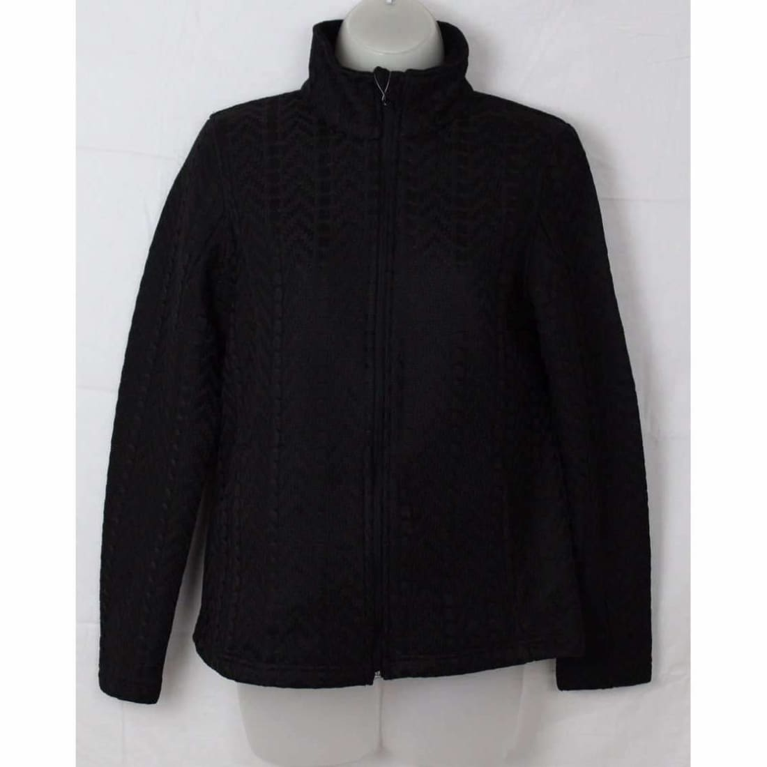 Boston Traders Ladies Cable Knit Sweater Jacket S / Black Outerwear