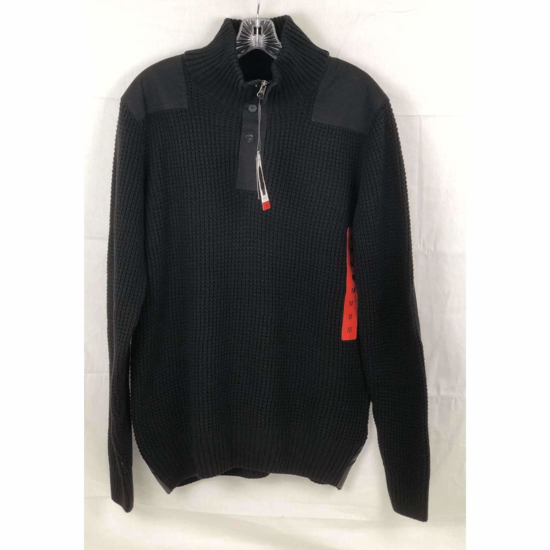 Buffalo David Bitton Mens 1/4 Zip Knit Sweater M / Black Sweaters