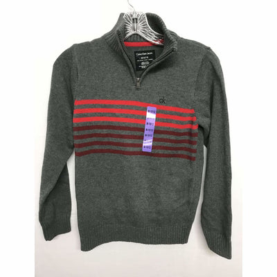 Calvin Klein Boys 1/4 Zip Knit Pullover Sweater 100% Cotton M(10/12) / Charcoal Heather Sweaters