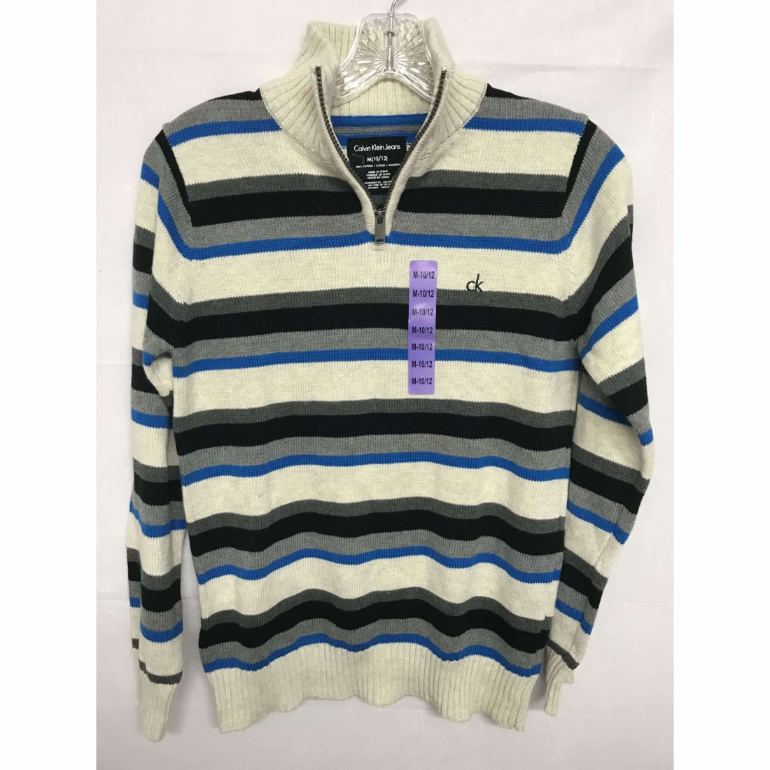 Calvin Klein Boys 1/4 Zip Knit Pullover Sweater 100% Cotton M(10/12) / Oatmealh Sweaters
