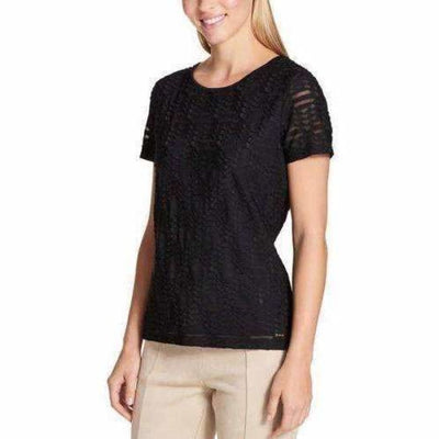 Calvin Klein Ladies Stretch Textured Tee M / Black Tops & Blouses