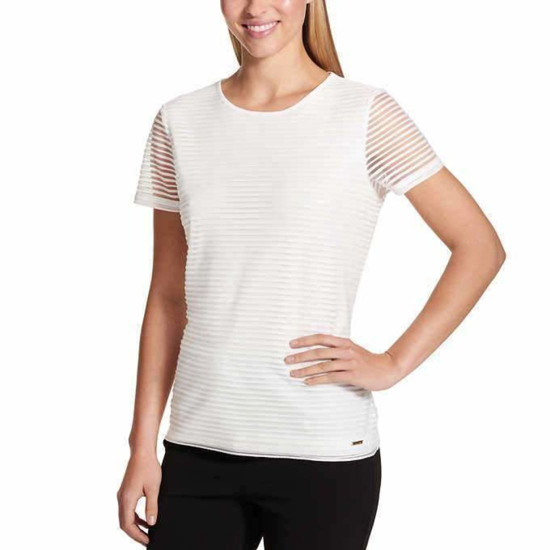 Calvin Klein Ladies Stretch Textured Tee Xxl / White Tops & Blouses