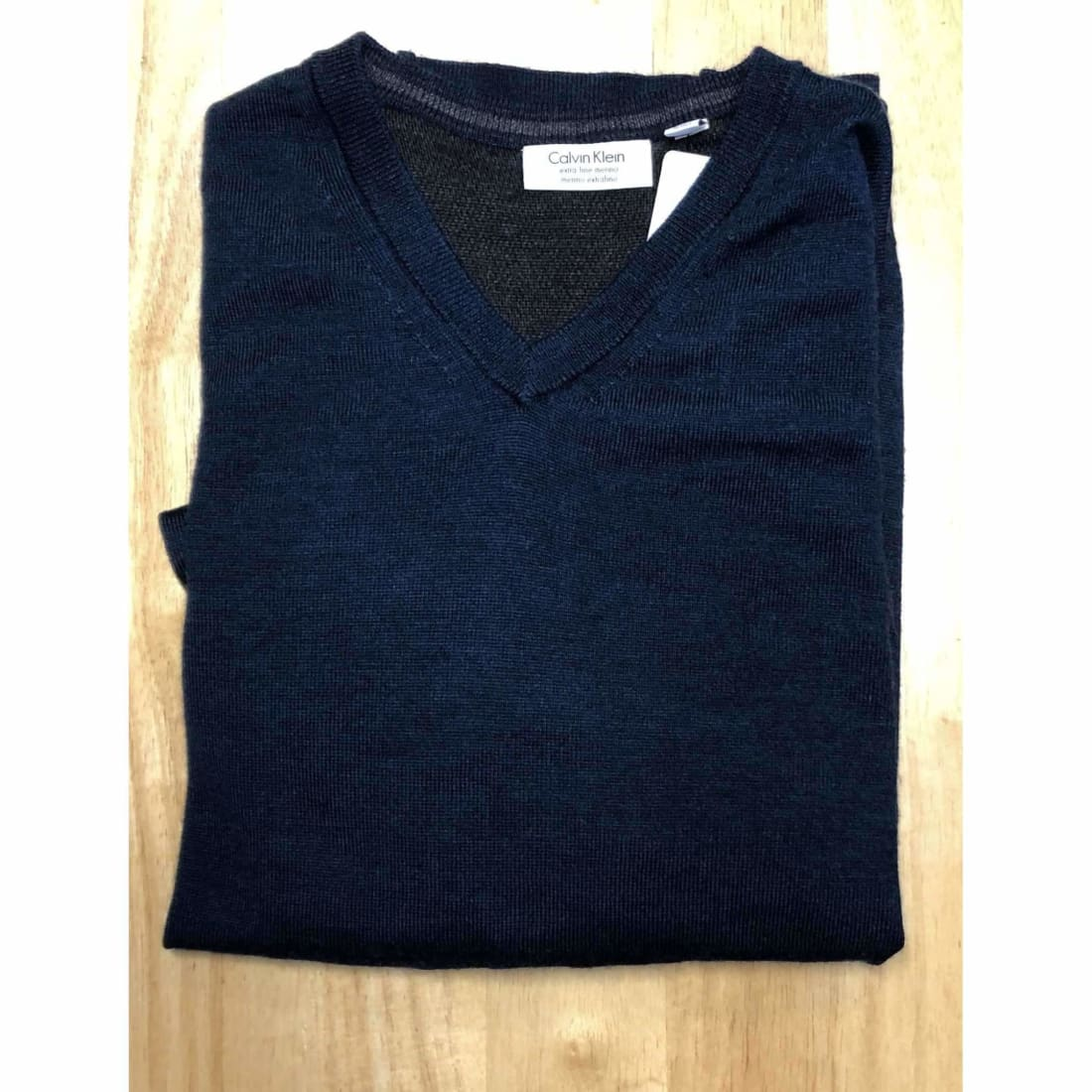 Calvin Klein Mens Merino Wool V-Neck Sweater M / Blue Sweaters