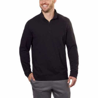 Calvin Klein Mens Mock Neck 1/4 Zip Pullover M Regular / Black Casual Shirts