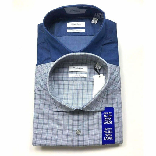 Calvin Klein Mens Slim Fit Dress Shirt 2 Pk L / Blue Dress Shirts