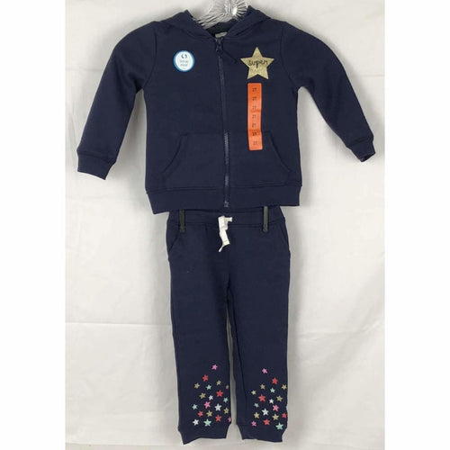Carters Girls 2 Piece Full Zip Hoodie And Jogger 2T / Navy Athletic Apparel