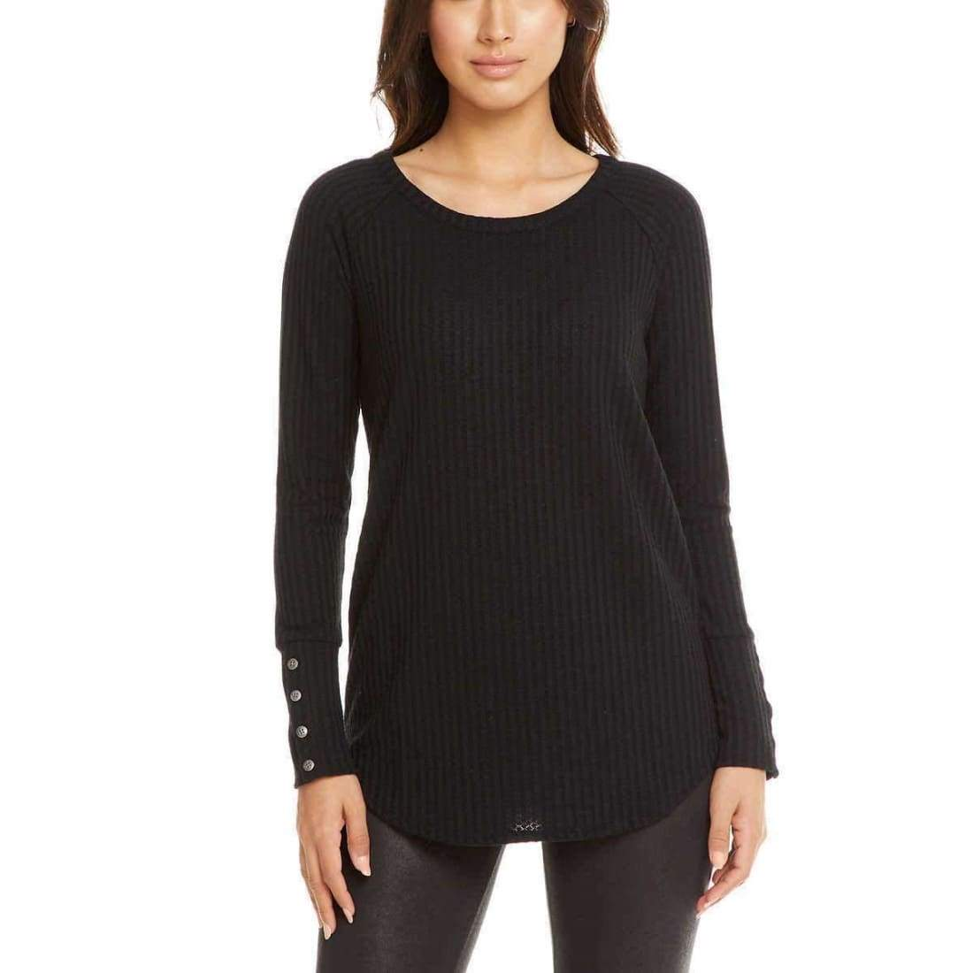 Chaser Ladies Long Sleeve Waffle Thermal S / Black Sweaters