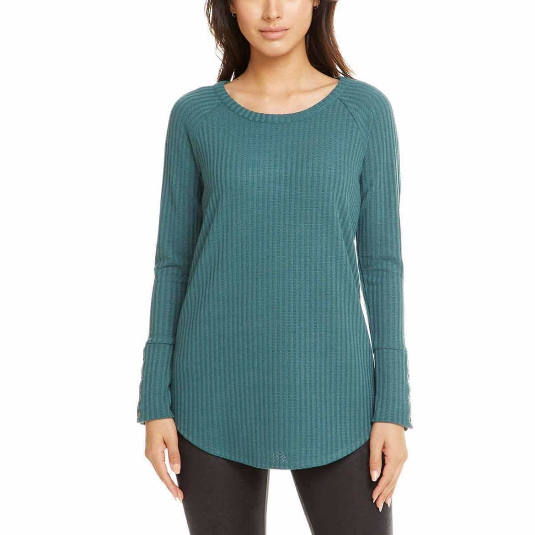Chaser Ladies Long Sleeve Waffle Thermal S / Green Sweaters