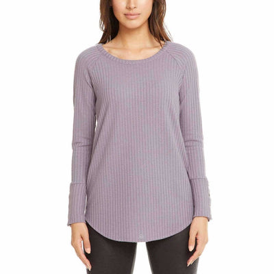 Chaser Ladies Long Sleeve Waffle Thermal Xs / Purple Sweaters