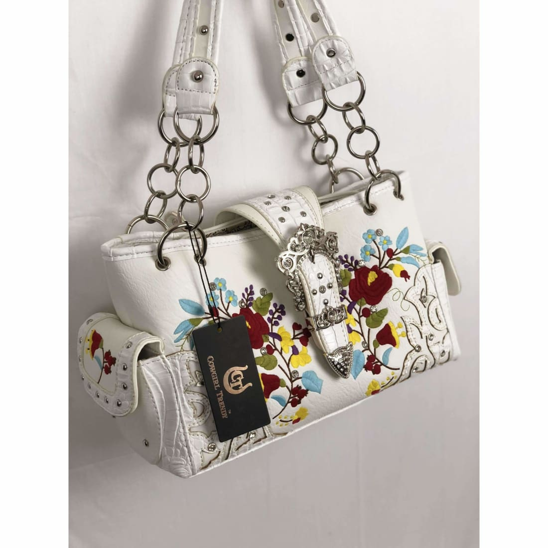 Cowgirl Trendy Flower Embroidered Western Buckle Handbag