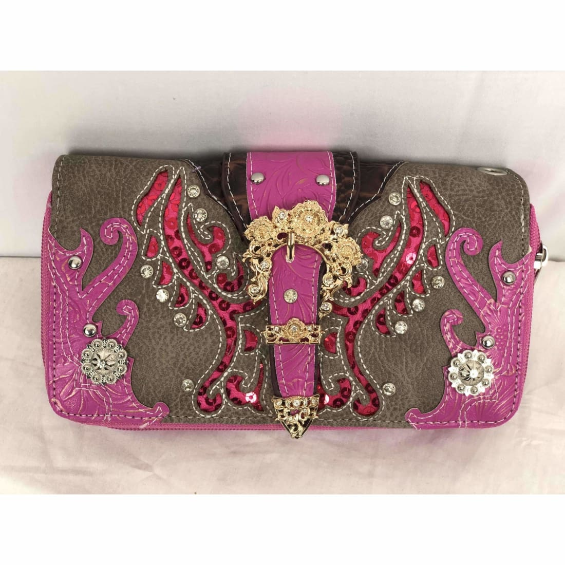 Cowgirl Trendy Gold Belt Buckle Wallet W/wrist Strap Purse