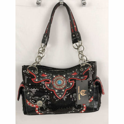 Cowgirl Trendy Western Concho Handbag (Black /red)